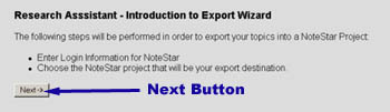 Image showing the introdcution to the export wizard.