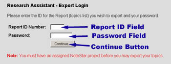 Image showing how to login to the export process by entering your report id number and password.