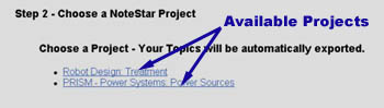 Image showing a list of available projects to choose from in NoteStar.