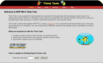 Image showing the home page of ThinkTank.